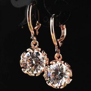 3/$21 Dainty CZ drop earrings goldtone finish